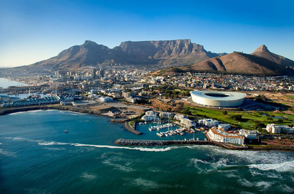 Arial view of Cape Town city.